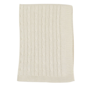 Korango Modern Vintage style Cable Knit blanket in Ivory colour