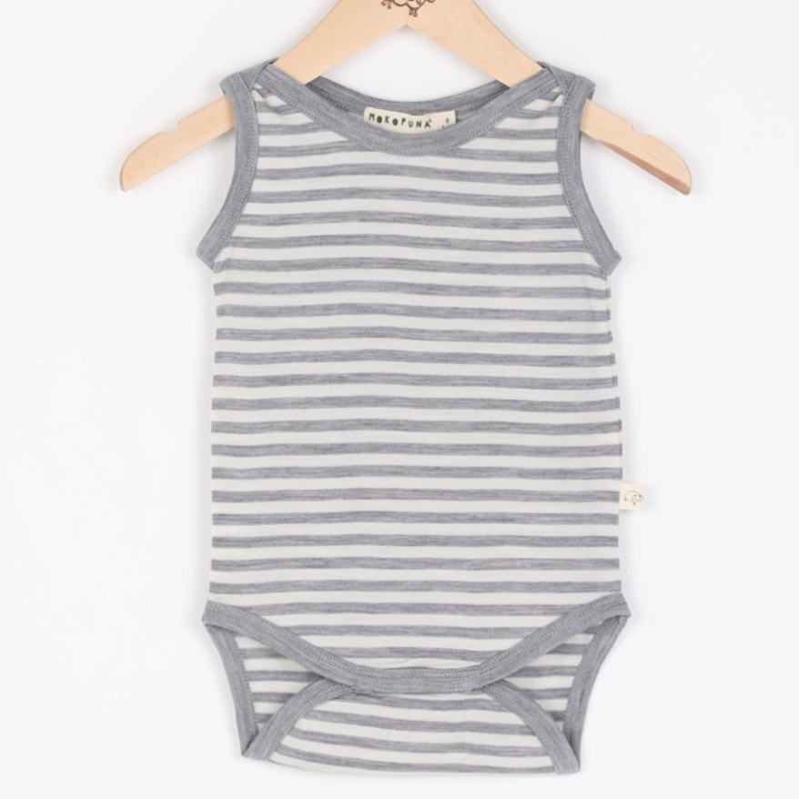 Mokopuna singlet bodysuit in cloudy bay design, a grey and cream stripe