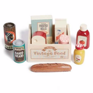 Maileg Vintage Food Grocery Box, the contents displayed
