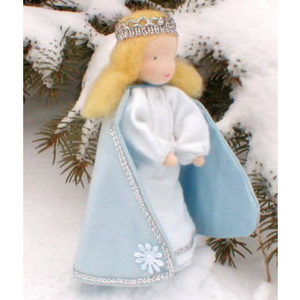 Steiner inspired Evi Mini doll, in Snow Queen blue cape & white dress