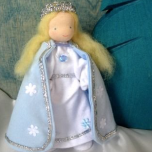 Steiner inspired Evi Mini Doll, in Winter Queen cape & dress
