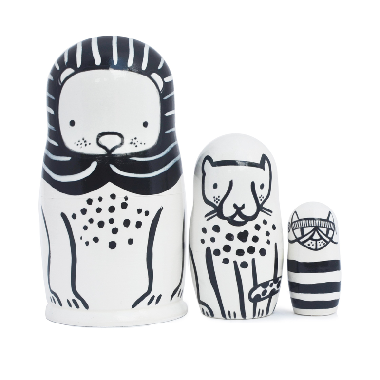 Wee Gallery Nesting Dolls - Lion, Cheetah & Kitty