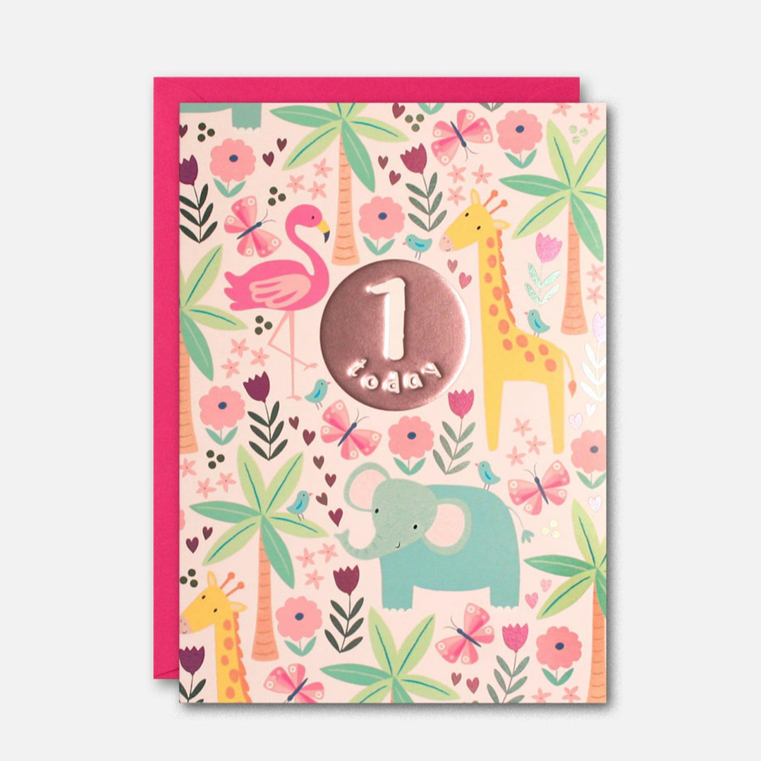 James Ellis Pink Jungle 1 Today Birthday Card