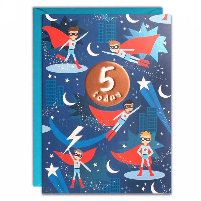 James Ellis 5 Today Superhero Birthday Card