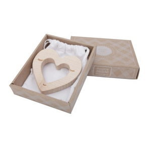 Wooden Story Heart Teether in packaging