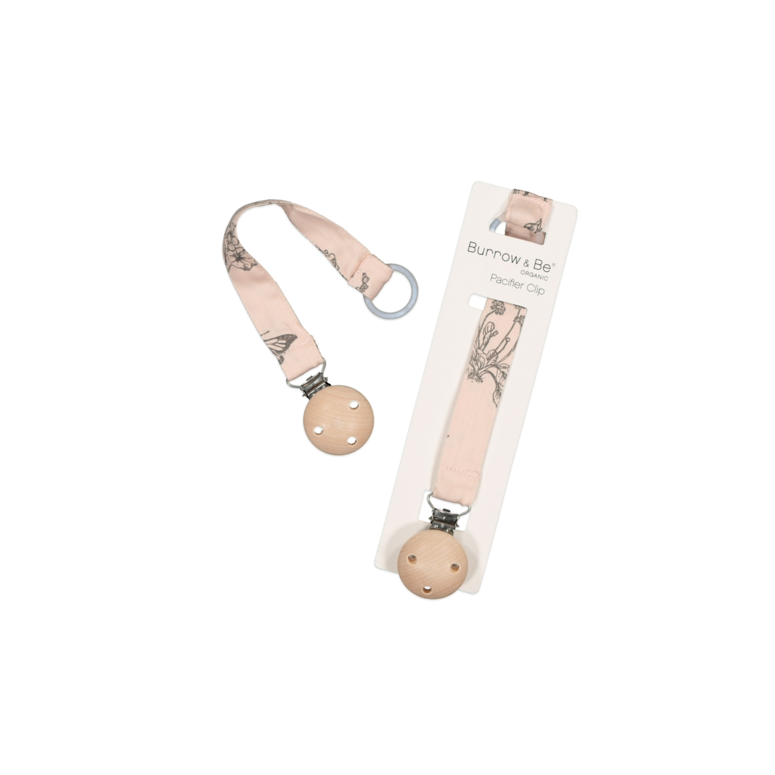 Burrow & Be Pacifier Clip in Blush Meadow