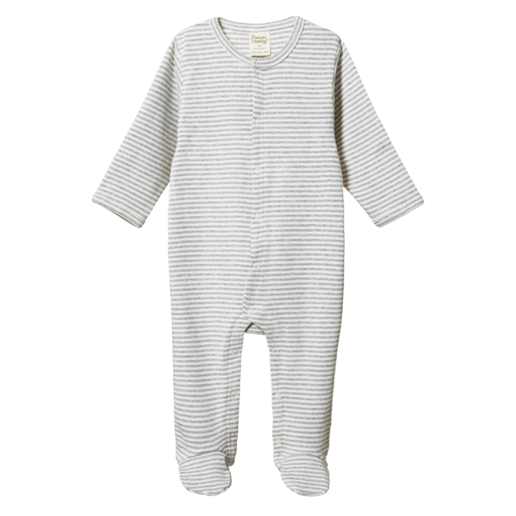 Nature Baby Stretch & Grow in Grey Marl Stripe