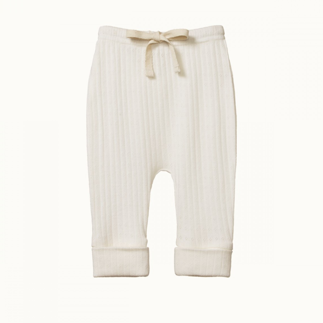 Nature Baby Pointelle Drawstring Pants in Natural colour