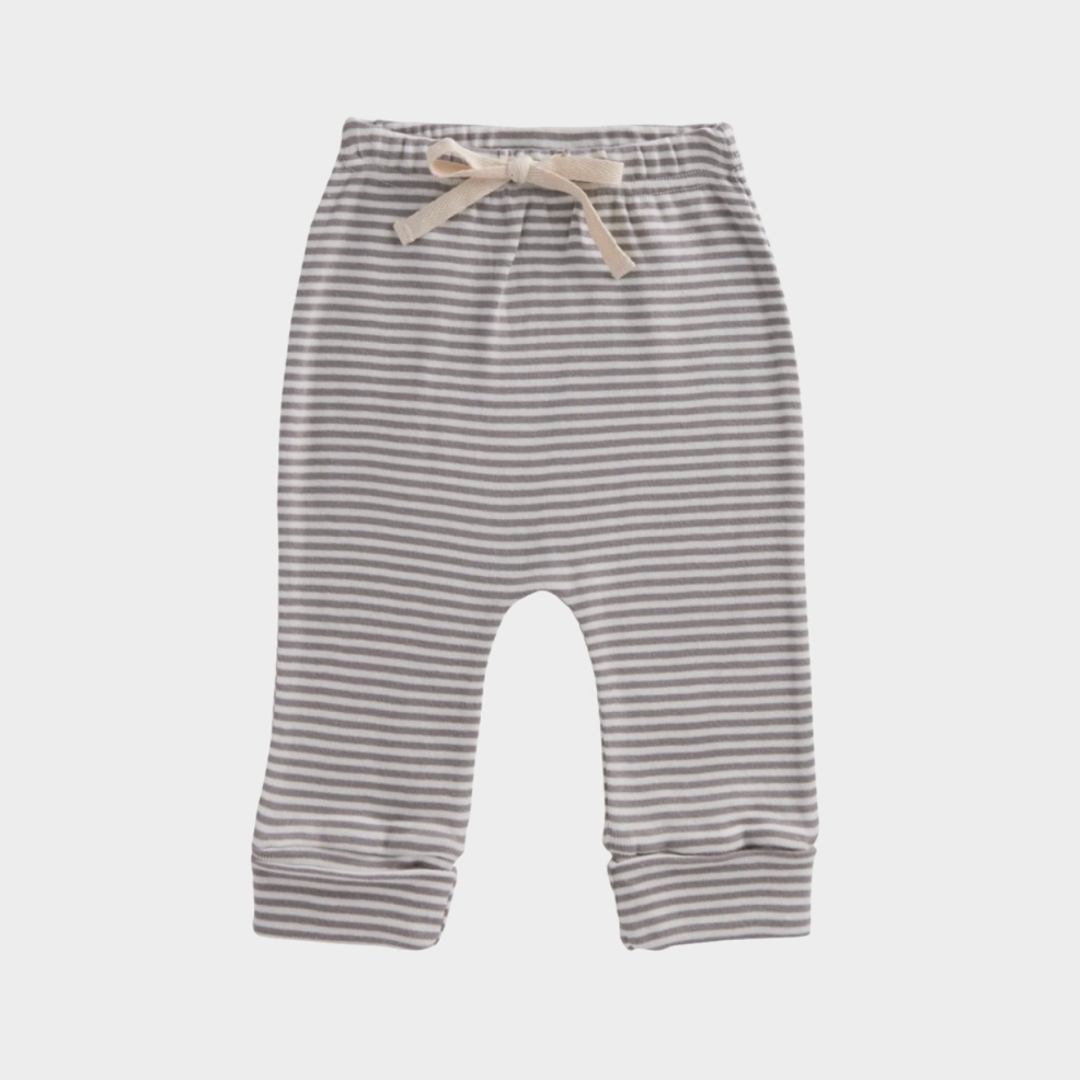 Nature Baby Drawstring Pants in Grey Marl Stripe