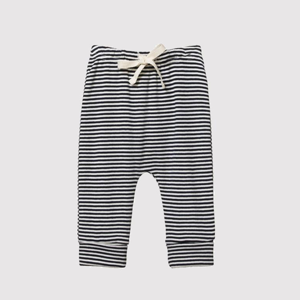 Nature Baby Drawstring Pants in Navy Stripe