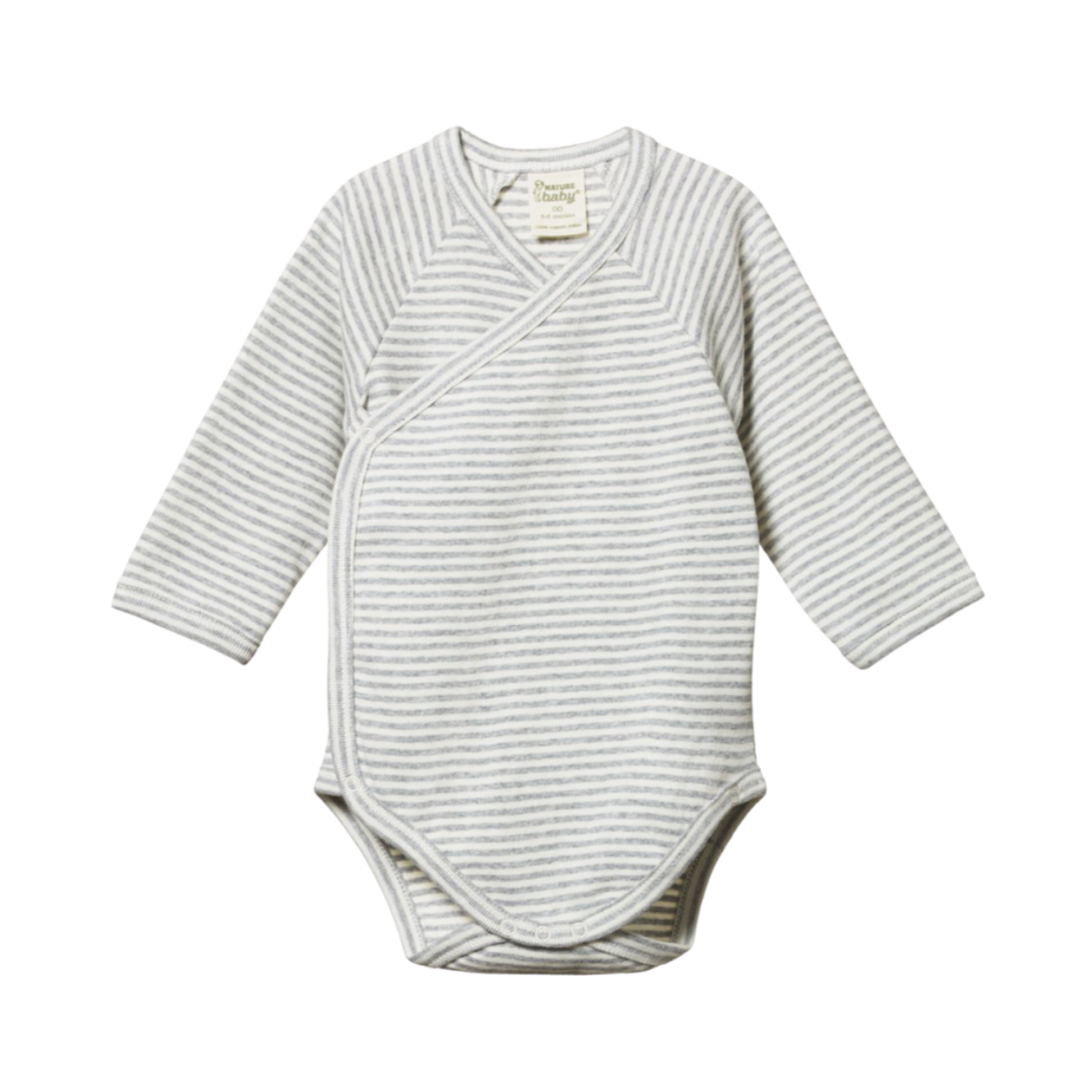 Nature Baby Long Sleeve Kimono Bodysuit in Grey Marl Stripe