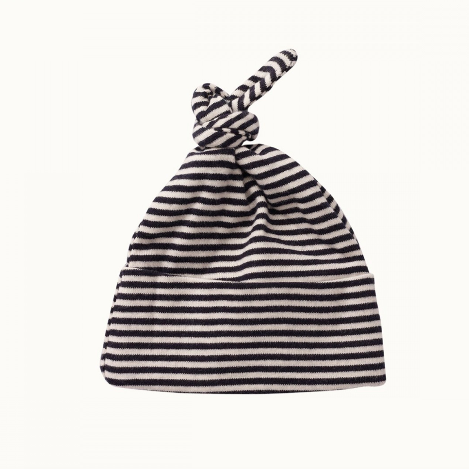 Nature Baby Knotted Beanie Navy Stripe