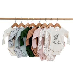 Burrow & Be -Long Sleeve Onesie -Almond Kiwi