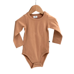 Burrow & Be -Long Sleeve Onesie -Tawny Brown