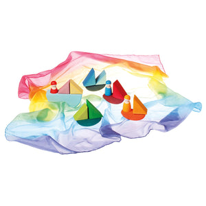 Sarah's Silk mini play silk rainbow coloured used as water for little wooden Grimms toy boats imaginative play for children