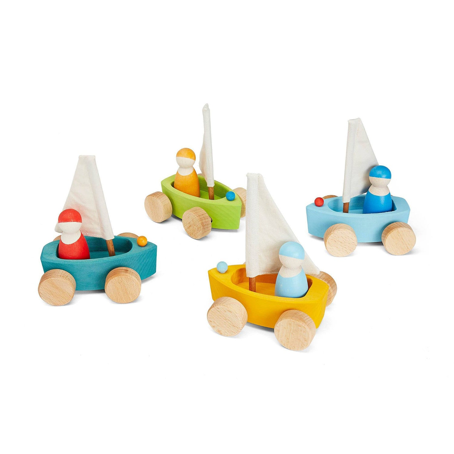 Griimms wooden toy yacht with wheels sail and little friend