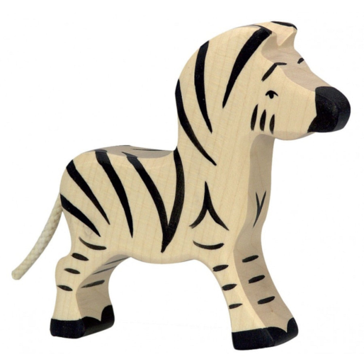 Holztiger wooden hand carved zebra baby foal figurine imaginative play