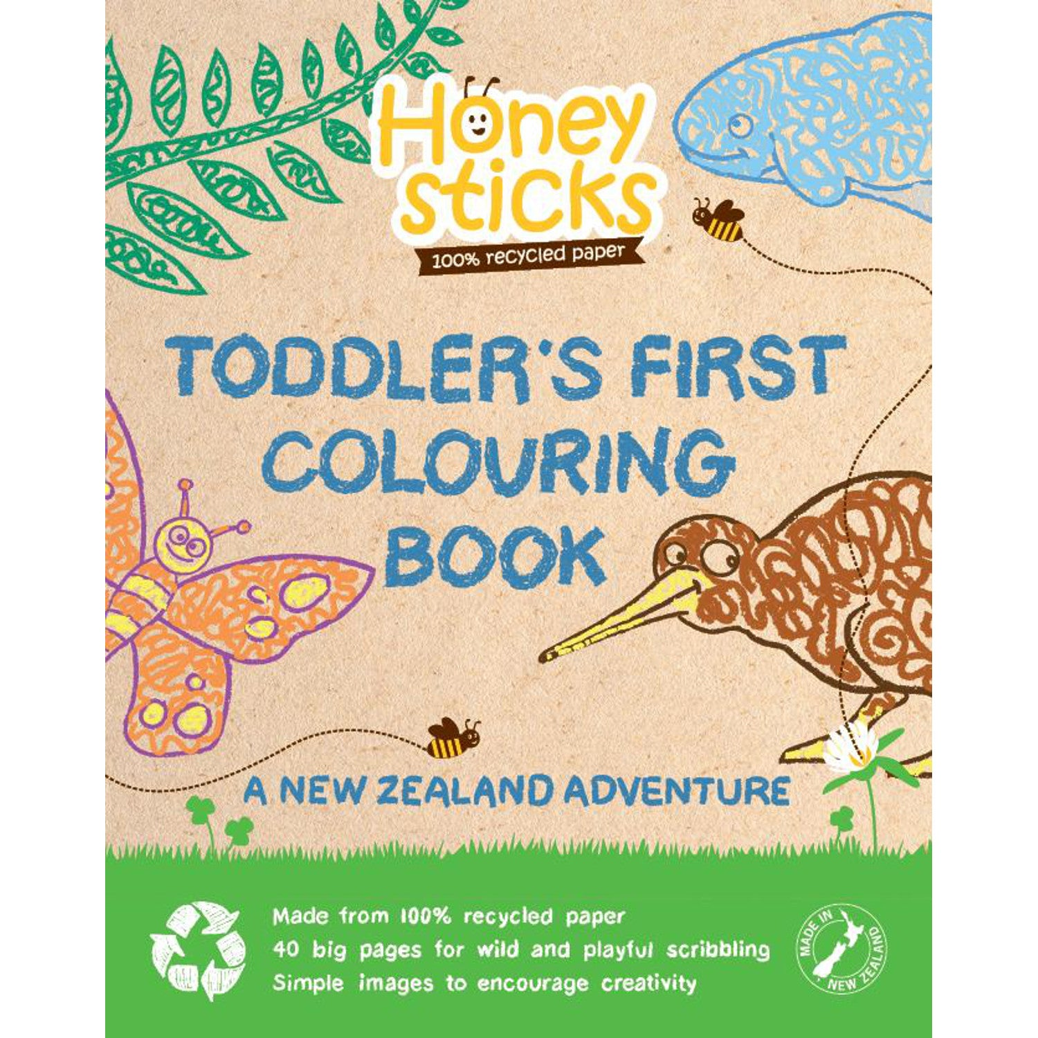 Honeysticks Toddler's First Colouring Book Kiwi Adventure
