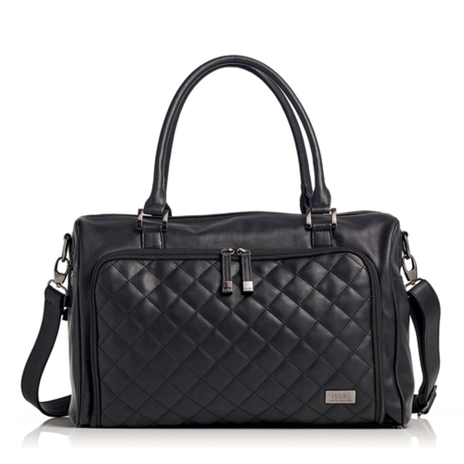 Isoki Double Zip Satchel Quilted Ebony