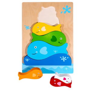 Chunky Wooden Puzzle Stacking Fish