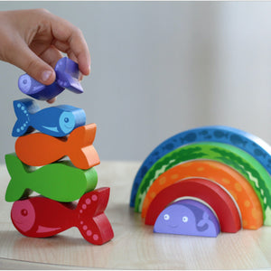 Chunky Wooden Rainbow Fish Puzzle