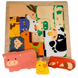Chunky Wooden Puzzle Farm Animals