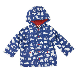 Korango Raincoat Construction Vehicles Blue Colour Changing