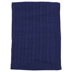 Korango | Cable Knit Blanket | Navy
