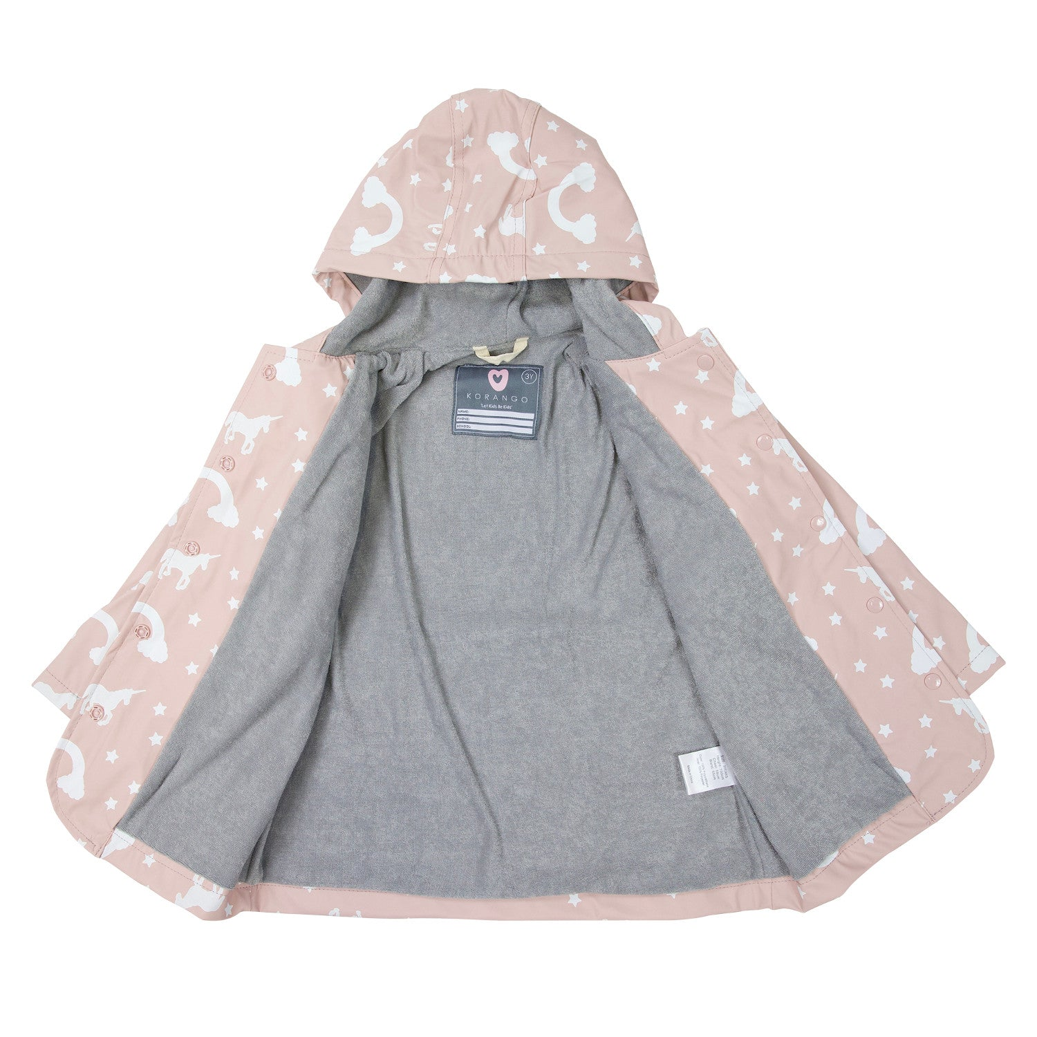 Korango Raincoat Unicorn Blush Pink Colour Changing