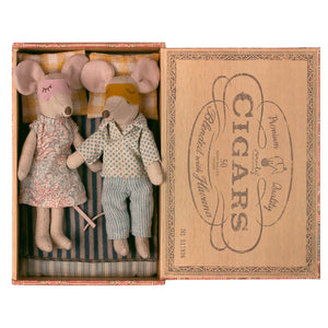 Maileg Mouse Mum and Dad in a Cigar Box