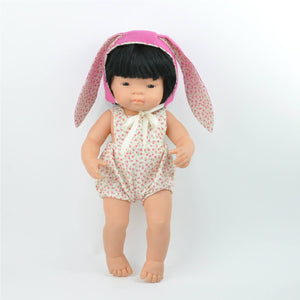 Miniland 38cm Dolls Clothes -Easter Floral Romper with Bunny Ears Bonnet