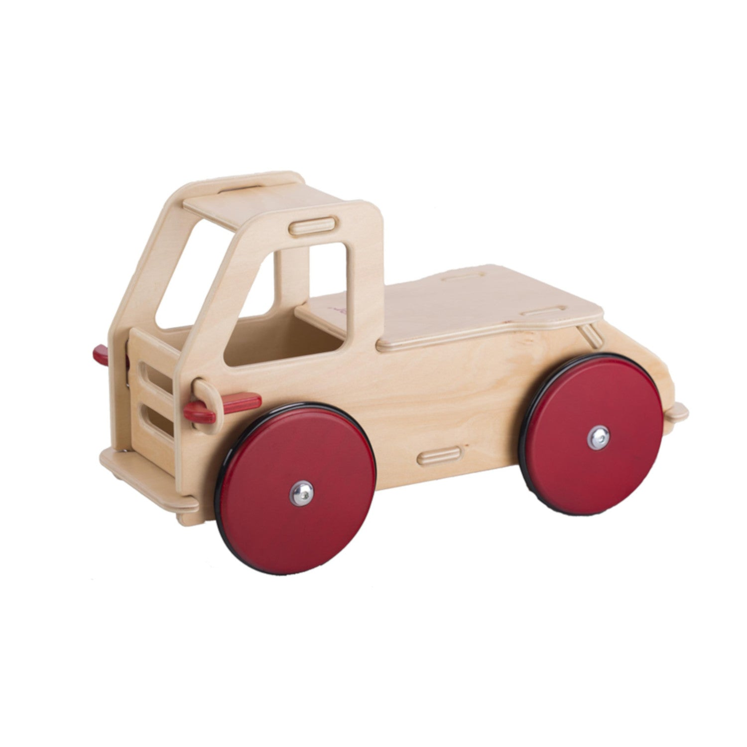 Moover baby truck natural with red wheels wooden ride-on toddler ride-on