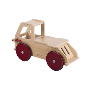 Moover baby truck natural with red wheels wooden toddler ride-on
