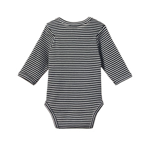 Nature Baby Cotton Bodysuit Long Sleeve - Navy Stripe