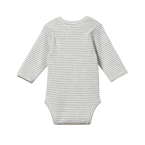 Nature Baby Cotton Bodysuit Long Sleeve - Grey Marle Stripe