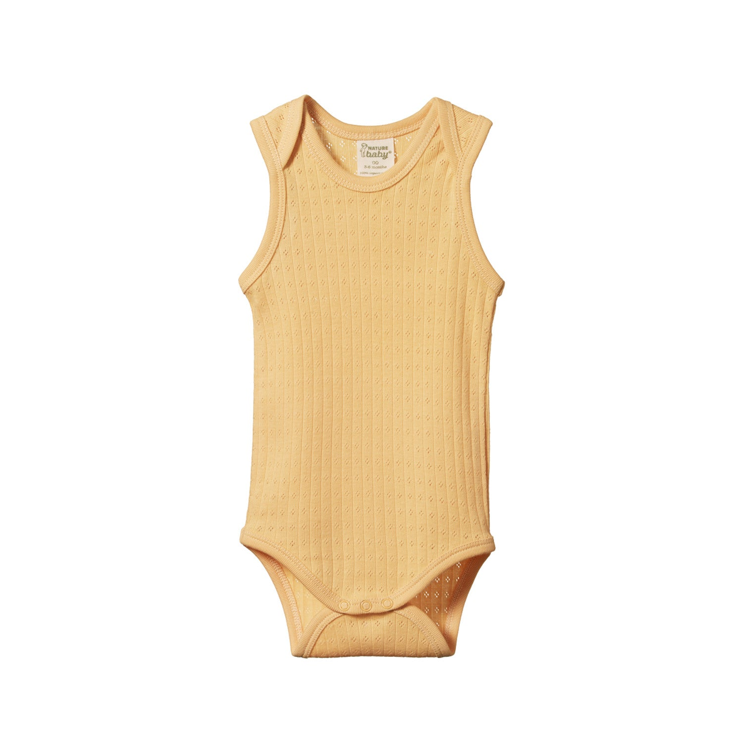 Nature Baby Pointelle Singlet Bodysuit - Lemon