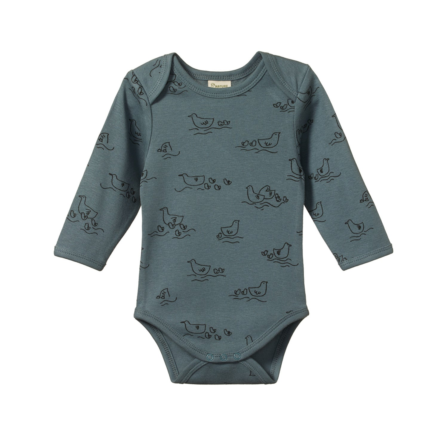 Nature Baby Cotton Bodysuit Long Sleeve - Pond Print