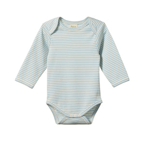 Nature Baby Cotton Bodysuit Long Sleeve - Pond Stripe