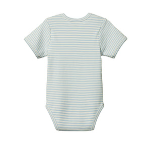 Nature Baby Cotton Bodysuit Short Sleeve - Pond Stripe