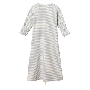 Nature Baby Sleeping Gown - Grey Marl Stripe