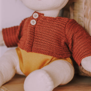 Olli Ella Dinkum Dolls Clothes -Cardigan Chestnut