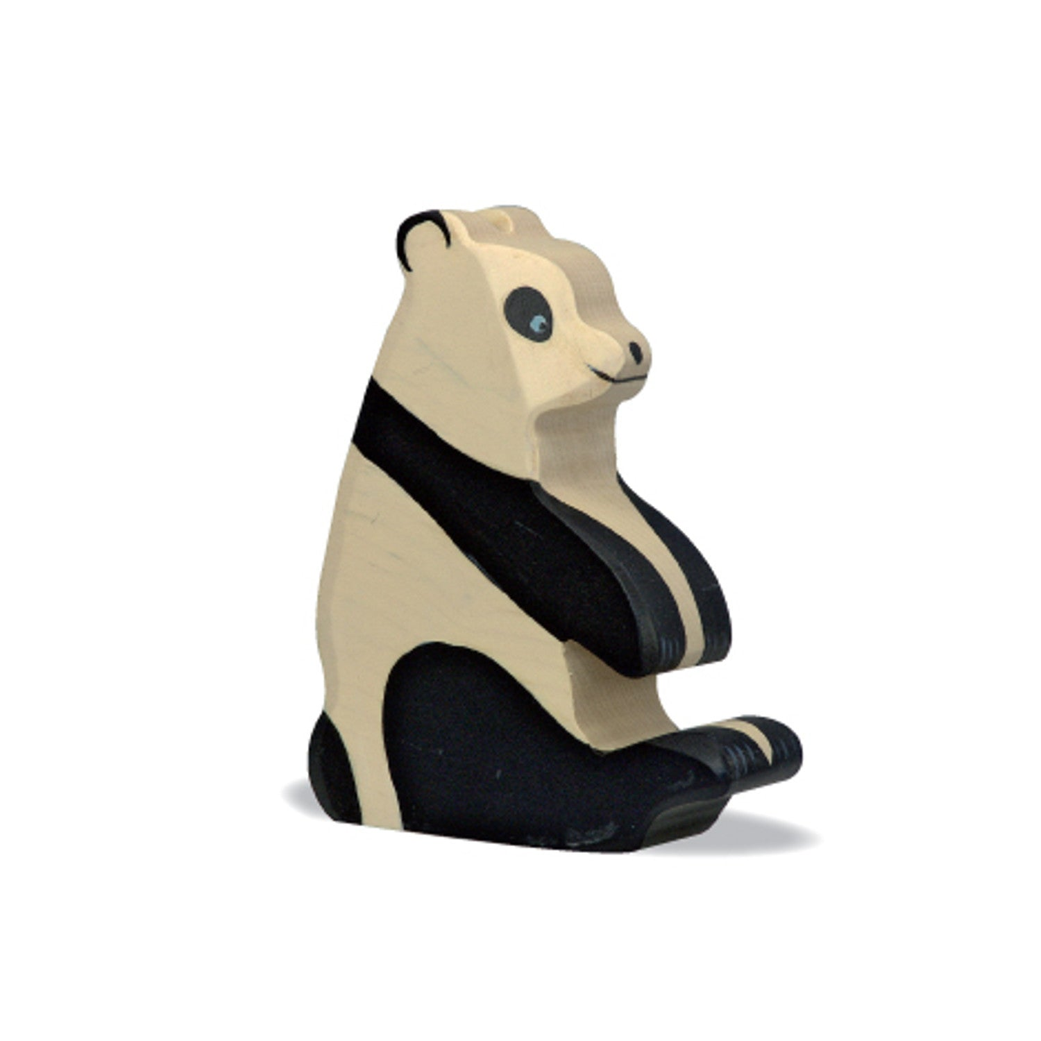 Holztiger wooden hand caved panda sitting figurine imaginative play