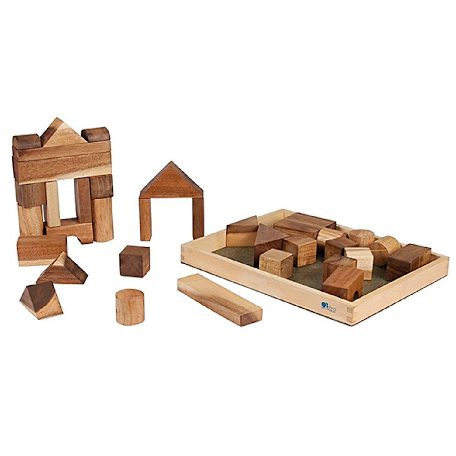 Q Toys Natural Wooden Blocks 34 pc