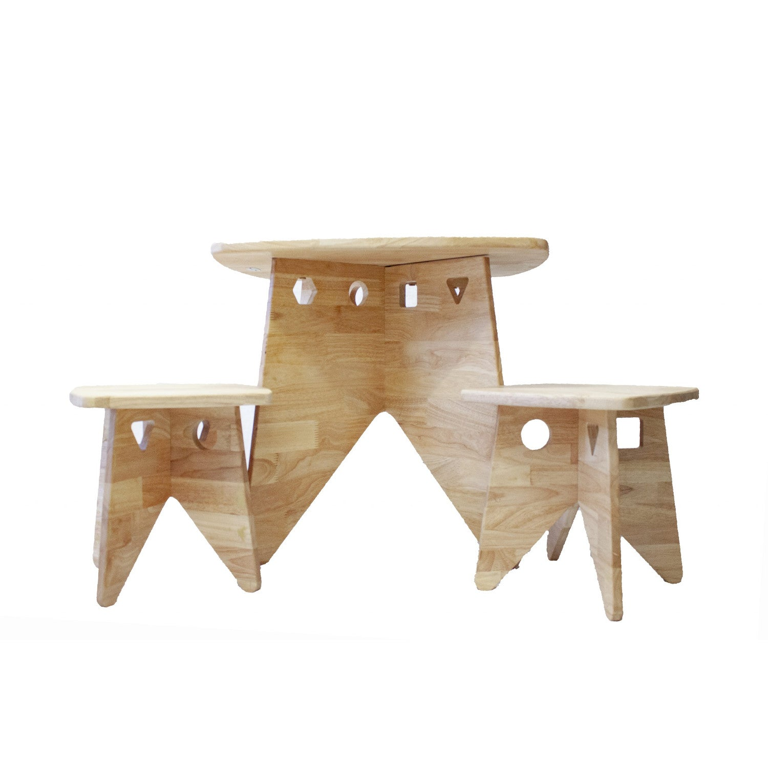 Q Toys Retro Kids Table and Two Stools Set