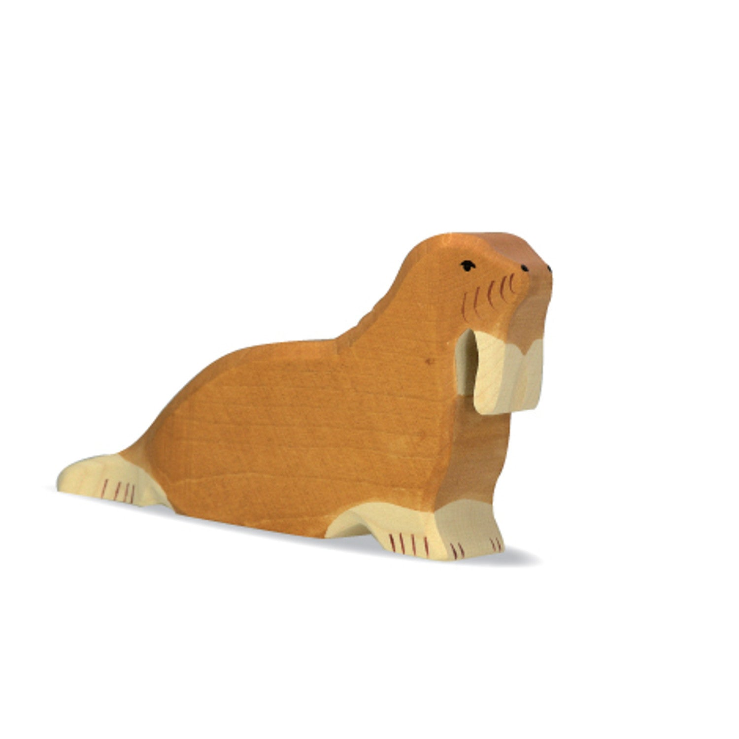 Holztiger wooden hand carved walrus figurine imaginative play