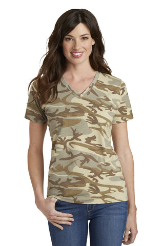 Port & Company® Ladies 5.4-Oz 100% Cotton V-Neck Camo Tee. LPC54VC