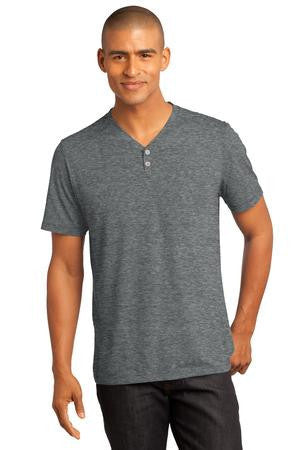 District Made™ - Mens Tri-Blend Short Sleeve Henley Tee. DM342