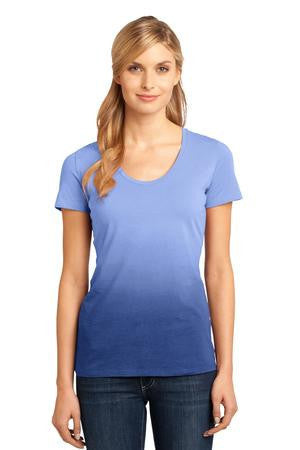 District Made™ - Ladies Dip Dye Rounded Deep V-Neck Tee. DM4310