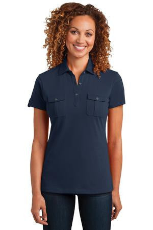 District Made™ Ladies Jersey Double Pocket Polo. DM433