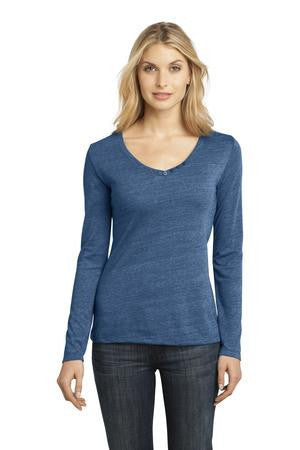 District Made™ - Ladies Textured Long Sleeve V-Neck with Button Detail. DM472